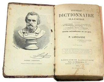 Antique French Larousse Illustre French Illustrated Dictionary, 1913, Collectible Dictionary, Paper Ephemera, Alphabet Pages