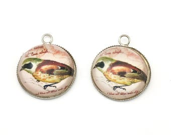 2 bird domed  glass cabochon ,20mm ,CH 187