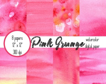 Watercolor Scrapbook Paper, Pink, Grunge, Digital Paper, Art Journal Paper, Digital Wallpaper, Digital Scrapbook
