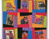 Modern Quilted Wall Hanging, Laurel Burch Cats Wall Quilt, Cat Art Quilt, Gift for Cat Lovers, 21 in. x 21 in., Quiltsy Handmade