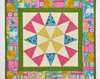"""Easter Quilted Table Topper, Square Easter Table Mat, Pink Blue Green Yellow Kaleidoscope Table Topper, 19.5""""x19.5"""", Quiltsy Handmade"""