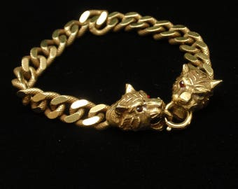 Curb Link Chain Bracelet with Jungle Cats Clasp
