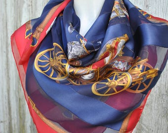 Beautiful vintage navy / red carriages print silk square scarf
