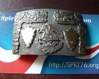 "Antique MEXICAN SILVER Belt Buckle 37.7 grams 2 1/8"" by 1 3/8"" Raised Bird Depiction and more. Suitable for fancy wear 4 ladies, girls, boys"