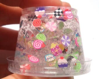 Clear Slime rainbow Candy Cake Cupcake slime slice flowers fimo clear glitter slime confetti slimes Slime party favor birthday gift rainbow