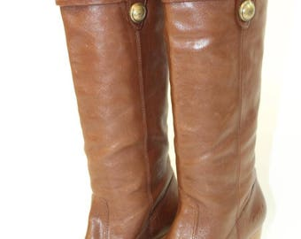 COACH Womens Boots, Coach Designer Boots, Brown Leather Boots, 6M Boots, Tall Leather Boots, Coach Heel Boots, Gently Used Boots
