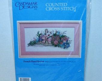 Candamar Designs counted cross stitch kit #50425 French Floral Basket Vintage 1988 sealed