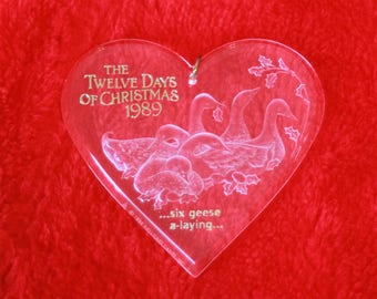 Hallmark Twelve Days of Christmas Six Geese A Laying 6th in seriesAcrylic ornament Vintage 1989