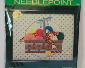 "Sunset Needlepoint kit 6525 Playful Kitten Repackaged 11"" x 14"" Designed by Jorja Vintage 1987"