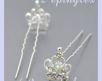 2 Crown rhinestone hair pins