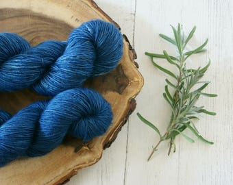 Merino Sock Yarn 100g - 4ply Indigo Silver Sparkle Sock Wool - Hand Dyed with Natural Dyes