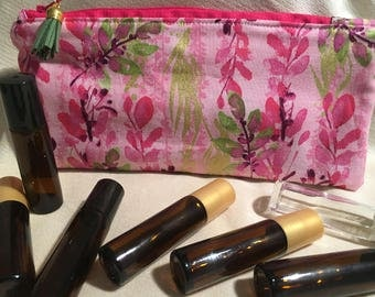 Floral Essential Oil Bag, EO Pouch Pink and Gold