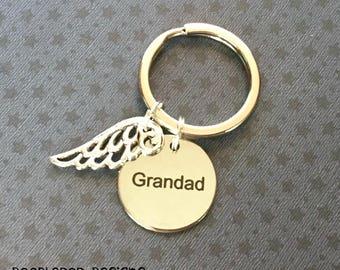 Grandad angel - Bereavement gift - Angel wing keyring for Grandad - Angel Grandad keychain - Grandad angel wing - Bereavement keyring - UK