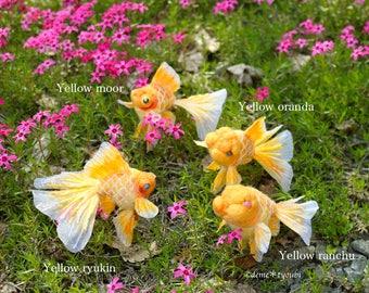 """Needle felted goldfish""""Yellow gildfish"""""""
