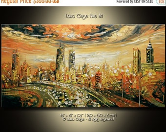 SALE Defying Gravity Original Oil Abstract Cityscape Contemporary Painting Modern Textured Palette Knife by Lana Guise