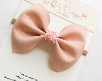 Pink Suede Bow, baby bows, easter bows