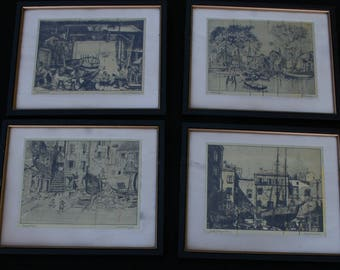 Lot 4 Framed Gold Foil Prints Lionel Barrymore Art Artwork Old Red Bank Boat Little Boatyard Venice B&B USA  Courtyard Old Boat Works
