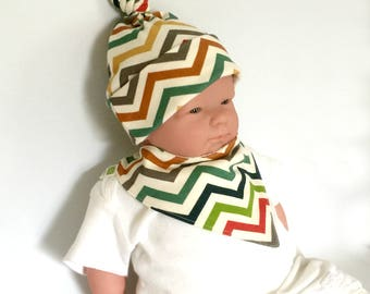 Organic newborn set, baby gift under 20, baby top knot hat, bandana drool bib, newborn hospital hat, organic drool bib, organic knot hat