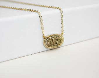 Minimal glitter - gold-plated necklace