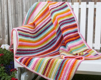Crochet, V-stitch, Jar of Blooms baby/toddler/adult lap crocheted blanket