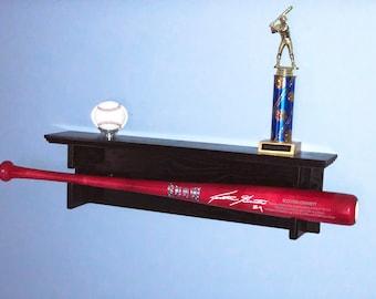 Horizontal Single Baseball Bat Rack with trophy or ball shelf for regular full sized bats