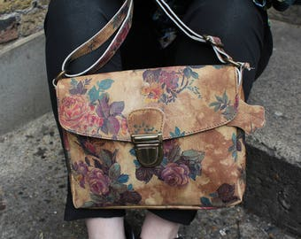 Louisa Simple Satchel Floral Print Leather
