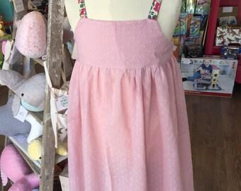 "Dress LEONTINE Strawberry pink ""plumetis"", strapless liberty Betsy grenadine"