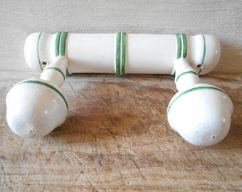 French vintage coat rack, 2 hooks wooden coat hanger, white and green wall hanging rack. French country style, 1950's.