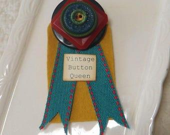 Button Gift Button Brooch Award Medal for Vintage Button Queen