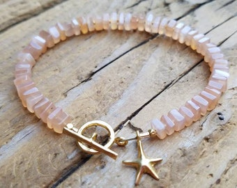 Peach Moonstone Bracelet and 24K Gold Vermeil, Hill Tribe Gold, Gold Vermeil Starfish Charm, Beachy, Artisan Jewelry, Staggs Lane