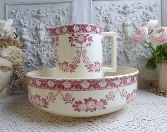 Antique french red transferware wash basin pitcher set.  Dark rose transferware bathroom set. Aesthetic Art nouveau to art deco toilet set.