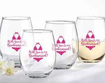 Set of 4 Will You Be My Bridesmaid Beach Bikini 15 oz. Stemless Wine Glass - Bridesmaids Gifts - Bridal Shower Party Favors (30023NA-WY2)