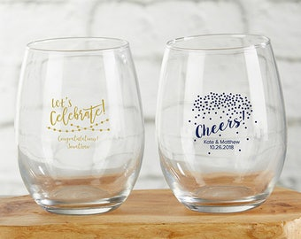 Stemless Wine Glass Party Favors - Personalized Wine Glasses - Custom Party Favors - Glassware Party Favor (30009PTY)