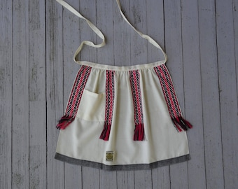 60's 70's Apron Finland Wool Fringe Woven Trim