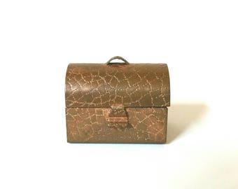Vintage Copper Dollhouse Toolbox, Metal Miniature Lunchbox
