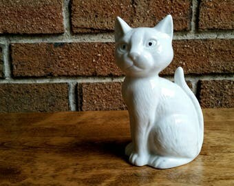 Vintage White Ceramic Cat Figurine Made in Japan