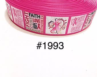"""3 or 5 yard - 7/8"""" Breast Cancer Awareness Ribbon Fight Like a Girl with Pink Ribbon on White Grosgrain Ribbon Hair bow"""