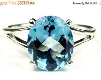 On Sale, 30% Off, Swiss Blue Topaz, 925 Sterling Silver Ring, SR132