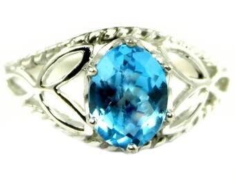 On Sale, 30% Off, Swiss Blue Topaz, 925 Sterling Silver Ring, SR137
