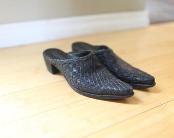 vintage black woven leather heel mules womens 7