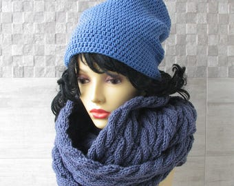 Knit Infinity Scarf, Winter Shawl, Blue Jeans chunky Winter Accessories, Womens Oversized Loop