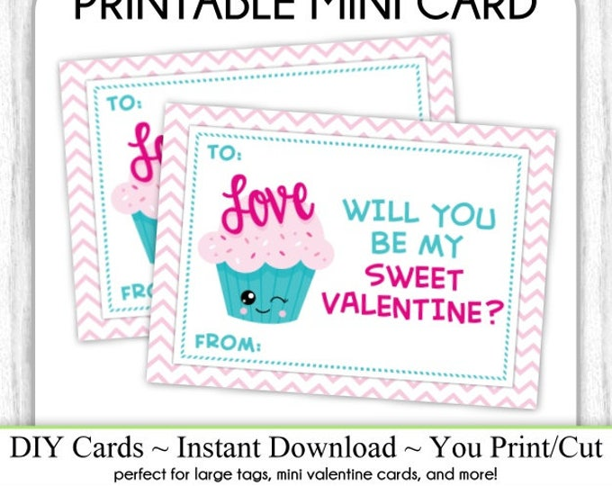 Cute Cupcake Valentine's Day Printable Cards, Valentine Mini Cards, DIY, You Print, Sweet Valentine Printable Cards, Instant Download