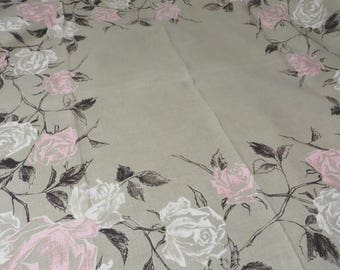"""Tablecloth Linen Taupe with Pink & White Roses Black Leaves  //  52"""" x 50""""  //  Vintage 50s or 60s Era Table Linens  //  Cottage Decor"""