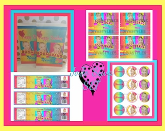 JoJo Siwa Printable SET,invitations, chip bag, cupcake toppers, water bottle labels,  download party favors, instant downloads, diy
