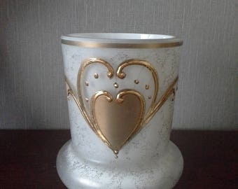white and gold glass vase Made in Czechoslovakia