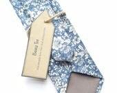 Floral tie blue skinny tie ditzy floral tie Mens skinny tie meadow print tie wedding tie mens floral tie