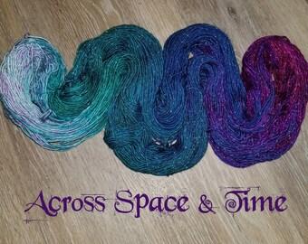 Hand dyed Sparkle Sock Yarn - 4oz fingering weight 409 yards- Superwash Merino Stellina Lurex-  knitting crocheting yarn Purple blue