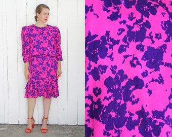 Vintage 80s Dress | 80s Flora Kung Silk Printed Dress Magenta Purple | Large L