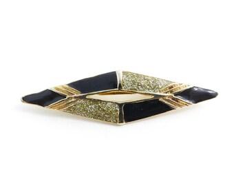 Vintage, Black Enamel Brooch, Gold Tone, Sparkles, STG106