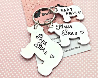 Father's Day gift, Mother's  Day gift, Papa Bear, Mama Bear, Baby Bear, Hand Stamped gift, Gift for Daddy, Gift for Mum, family gift